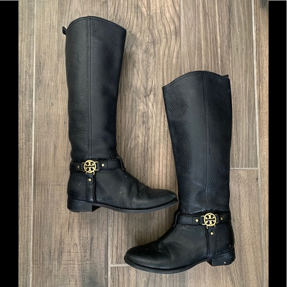 TORY BURCH Riding Boots | Black Pebbled Leather 6M
